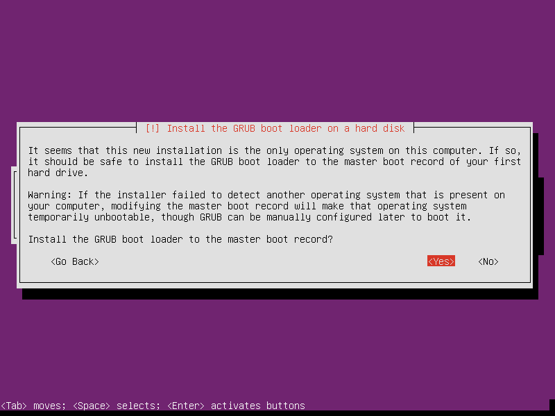 Install Ubuntu Server - Install grub boot loader